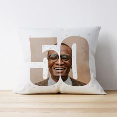 Photo Upload Cushion - 50 Years Old - Stars Design