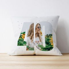 Photo Upload Cushion - 40 Years Old - Stars Design