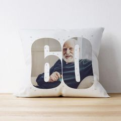 Photo Upload Cushion - 60 Years Old - Stars Design