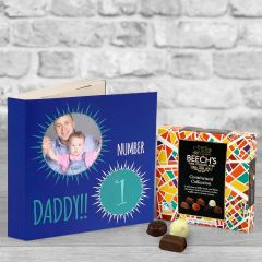 Number 1 Fathers Day Blue - Chocolate Box Gift Card