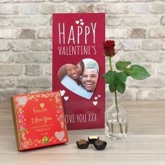 Happy Valentines Red - Tall Flower Card