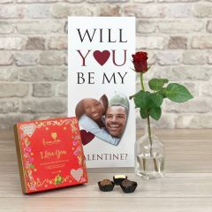 Will You Be My Valentine - Tall Flower Card