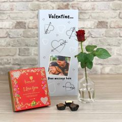 Happy Valentines  - Hearts and  Arrows Tall Flower Card
