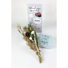 Celebration Balloons Dried Flowers Personalised Card - Letterbox Gift set