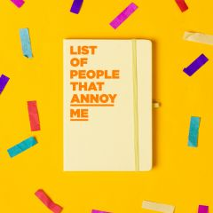 'List of People That Annoy Me' Notebook Pastel Yellow