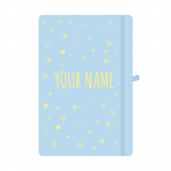 Personalised Star Notebook Pastel Blue