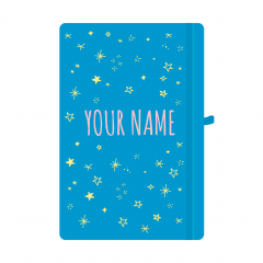 Personalised Star Notebook Cyan Blue