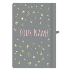 Personalised Pastel Grey A5 Notebook Stars