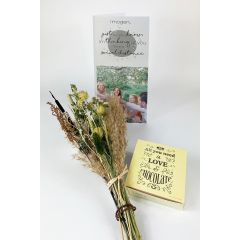 Thinking of you Dried Flowers Personalised Card - Letterbox Gift set