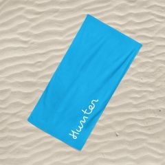 Personalised Large Beach Towel - Island Inspired - White on Blue